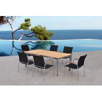 """Delorm - Table """"Melbourne"""" avec plateau teck + 6 chaises en résine tressée"""
