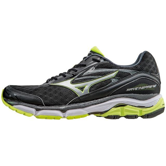 2e36be41067 Mizuno - Wave Inspire 12 Noire Et Jaune Fluo Chaussures de running homme  Gris - pas cher Achat   Vente Chaussures running - RueDuCommerce
