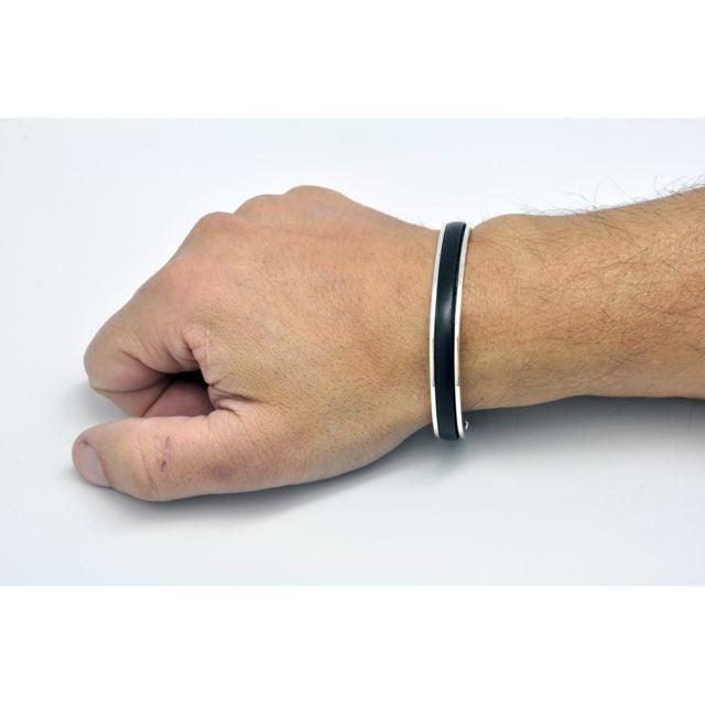 Cestmoilaplusbelle Bracelet homme rigide Argent et cuir noir - D'OZ pour homme