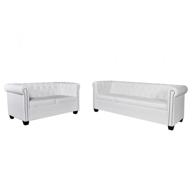 Casasmart Set de Canapé Chesterfield de 2 places et 3 places Blanc