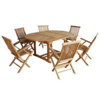 Bois Dessus Bois Dessous - Salon de jardin en bois de Teck Brut Qualite Premium 6/8 pers - Table ronde/ovale 120/170cm + 6 fauteuils