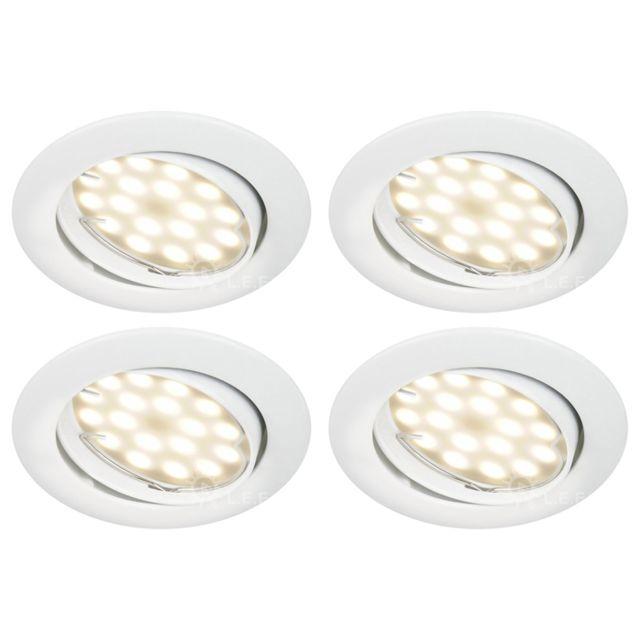 ab35f3e257b60 Lampesecoenergie - Lot De 4 Spot Led Orientable Blanc Avec Ampoule Gu10  230V eq. 50W