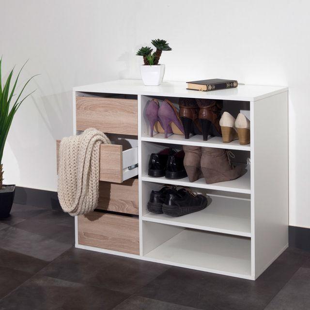 Meuble à chaussures 4 niches 4 tiroirs Longueur 89.5 ARNOLD - Chêne