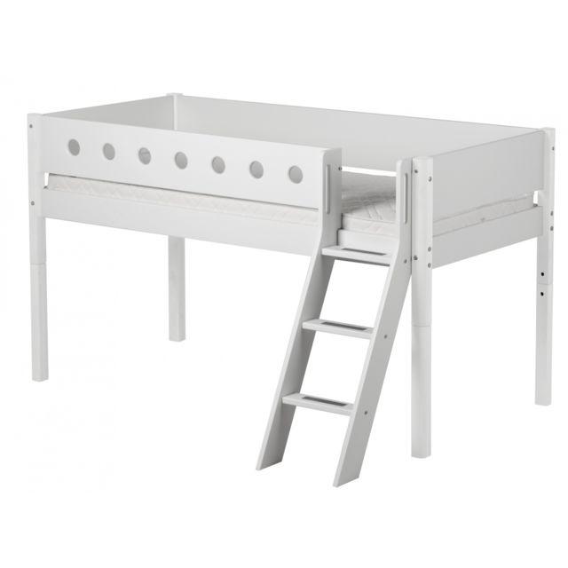 Flexa Lit mezzanine évolutif mi-hauteur White 90x200 ech.incli