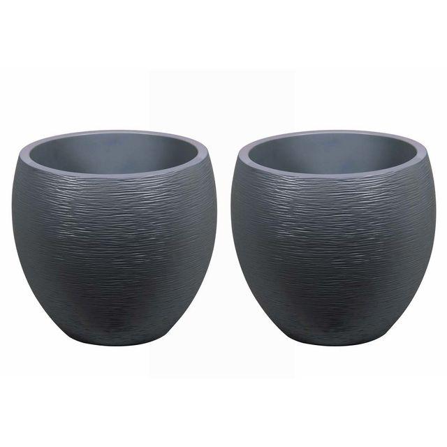 Pot à fleurs Egg - Gris anthracite - Ø 50 x 45 cm