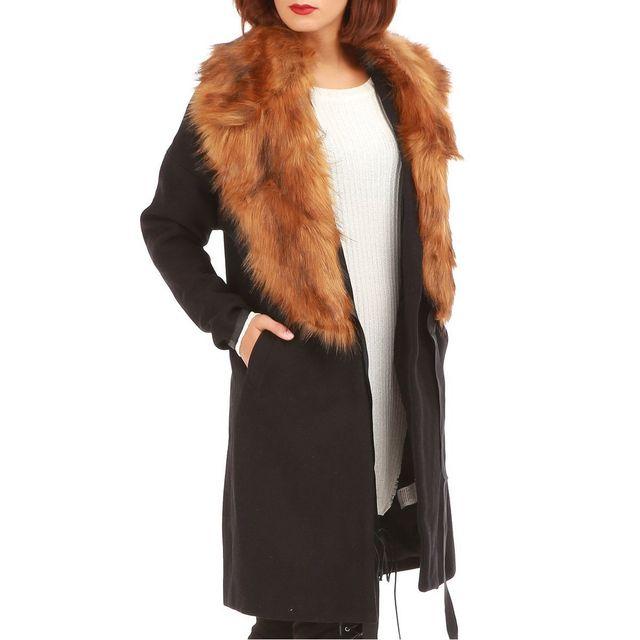 lamodeuse manteau noir avec col fourrure amovible pas. Black Bedroom Furniture Sets. Home Design Ideas