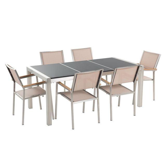 BELIANI - Table de jardin en plateau granit noir poli 180 cm ...