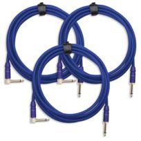 Pronomic - 3x Set Trendline Inst-3B câble à instrument 3m bleu