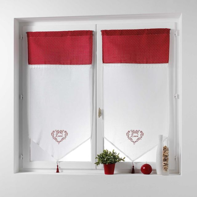 Couleur Montagne Cdaffaires Paire pompon passe tringle 2x60x120 cm voile brode+top imprime home love Rouge