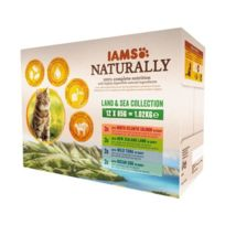 Iams Chat - Iams Naturally Humide Terre & Mer en sauce - Toutes races - 12x85 g - Pour chat adulte