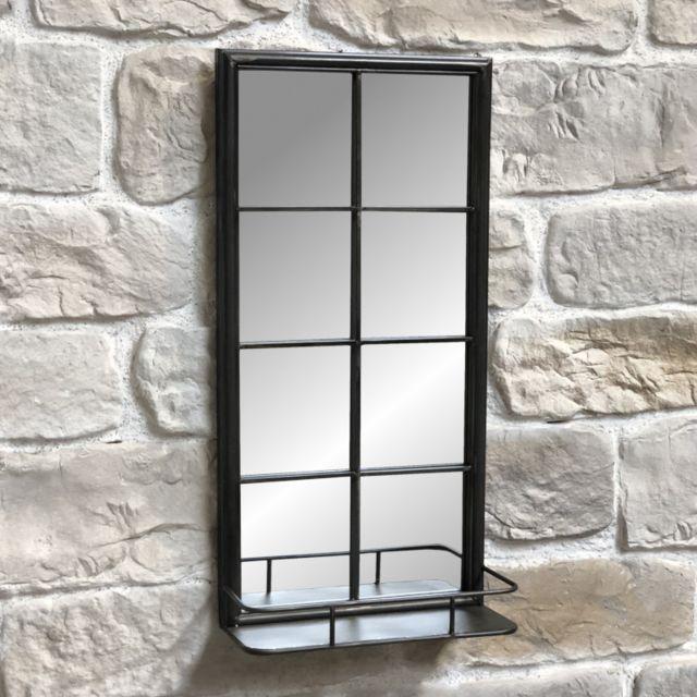 L'ORIGINALE Deco Miroir Fenêtre Industriel Étagère Tablette Mural Fer 80 cm x 40 cm x 15,50 cm