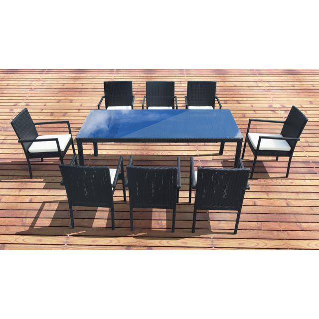 CONCEPT USINE - SALON DE JARDIN ATLAS-8, TABLE + 8 FAUTEUILS EN ...