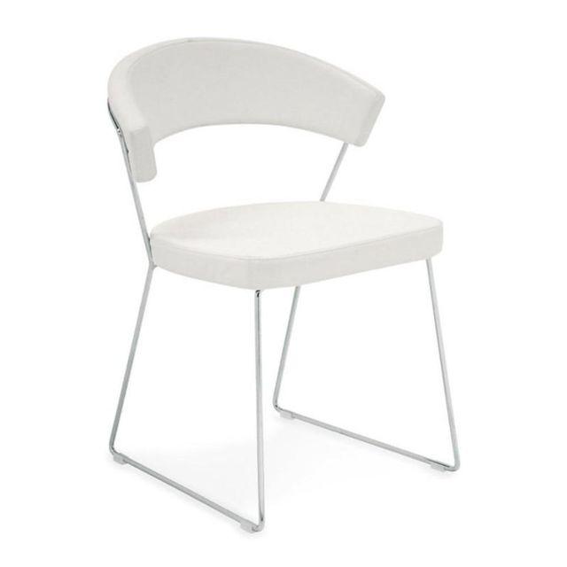 Inside 75 Chaise New York design italienne structure acier chromé assise cuir blanc