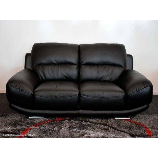 la maison du canap canap cuir 2 places barcelona cuir sup rieur noir 97cm x 172cm x 89cm. Black Bedroom Furniture Sets. Home Design Ideas