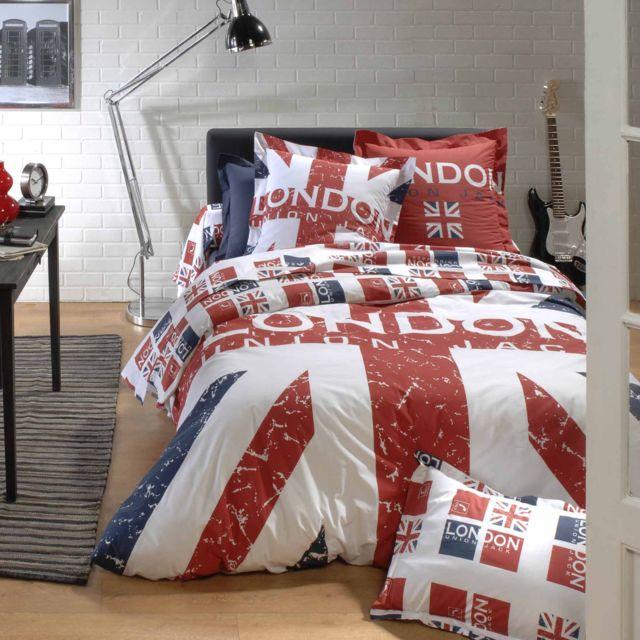 linnea parure de lit 240x220 cm 100 coton london union jack multicolore nc pas cher achat. Black Bedroom Furniture Sets. Home Design Ideas