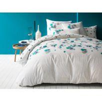 Matt&ROSE - Housse de couette réversible coton fleurs bleu émeraude fond blanc Fleurs Graphiques - 240x220cm