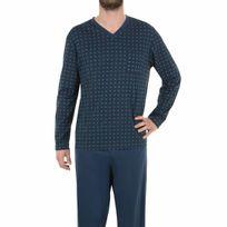 Eminence - Pyjama long en jersey de coton mercerisé : tee-shirt col V bleu marine à motifs carrés, pantalon bleu marine