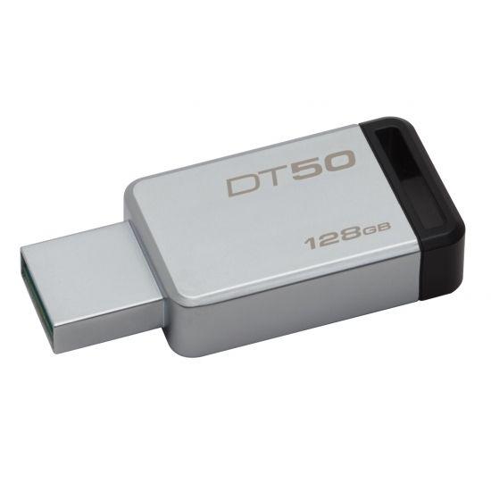 KINGSTON Clé USB 3.0 128Go DataTraveler 50 Metal/Noir DT50/128GB DataTraveler® 50 est une clé USB légère disponible dans des capacités allant de 8 à 128Go