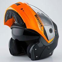 Blauer - casque intégral modulable moto scooter Sky noir mat orange métal