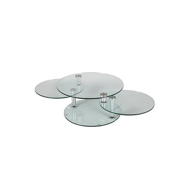 Table basse 3 plateaux ovales en verre trempé Glass