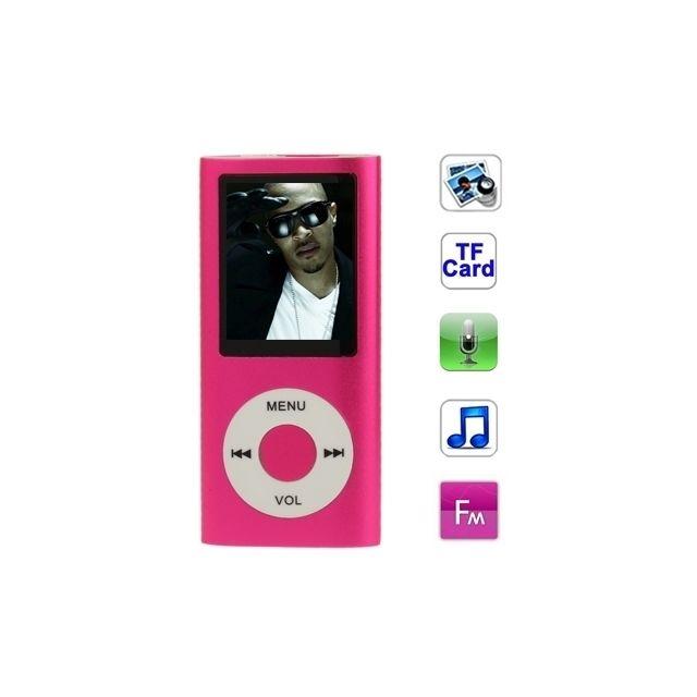 Lecteur Mp4 Magenta pour carte Tf support d'enregistrement radio Fm E-book  et calendrier 1 8 pouces Tft Screen Metal Mp4 Player avec fente