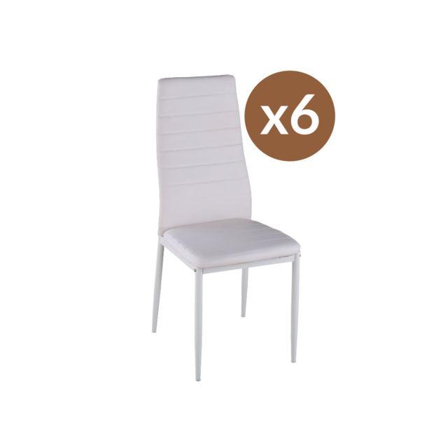 HABITAT ET JARDIN Lot de 6 chaises Lina - Blanc