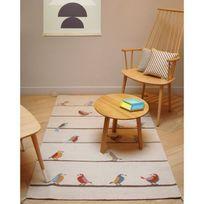 Art For Kids - Tapis Petits Oiseaux chambre Fille - Couleur - Beige, Taille - 110 / 160 cm