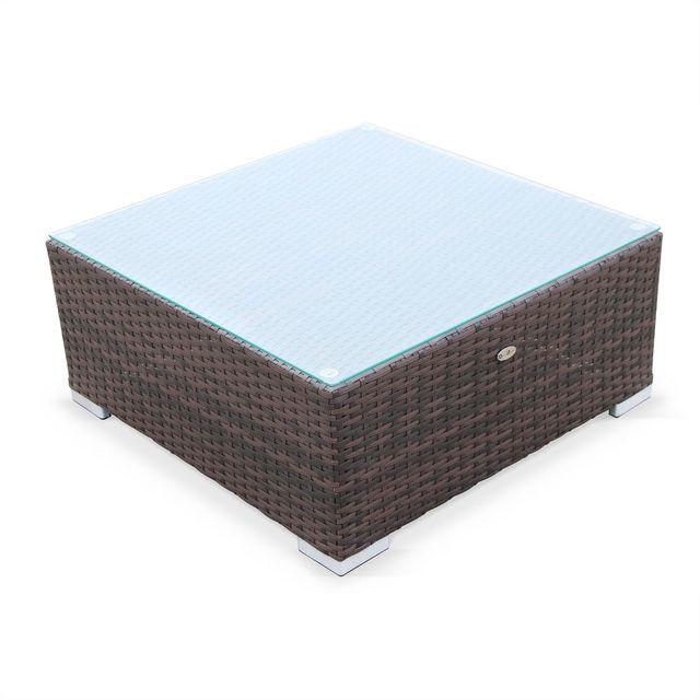 Caligari Chocolat/Marron - Salon de jardin table en résine tressée 5 places chocolat avec coussins marron Caligari canapé fauteuil