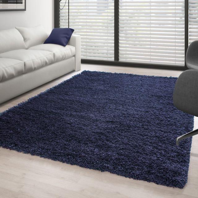 ayyildiz tapis tapis shaggy pile longue couleur unique bleu fonc et bleu pas cher achat. Black Bedroom Furniture Sets. Home Design Ideas