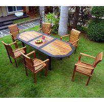 salon pour jardin en teck huilé et résine tressée 6 fauteuils empilables -  table 180-240 cm