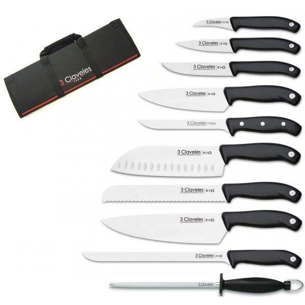 3CLAVELES Malette de 9 couteaux Evo pour cuisiniers + fusil 3 Claveles
