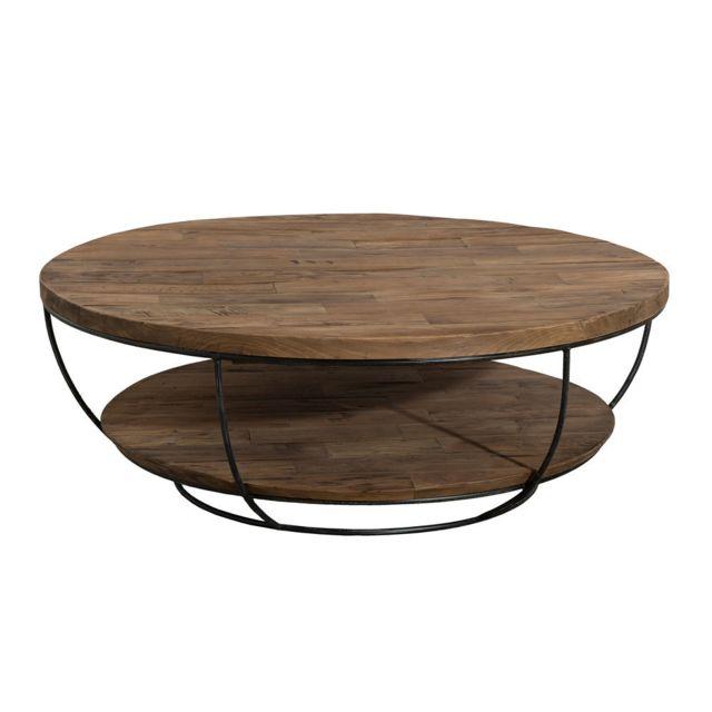 MACABANE Table basse coque noire double plateau 100 x 100 cm