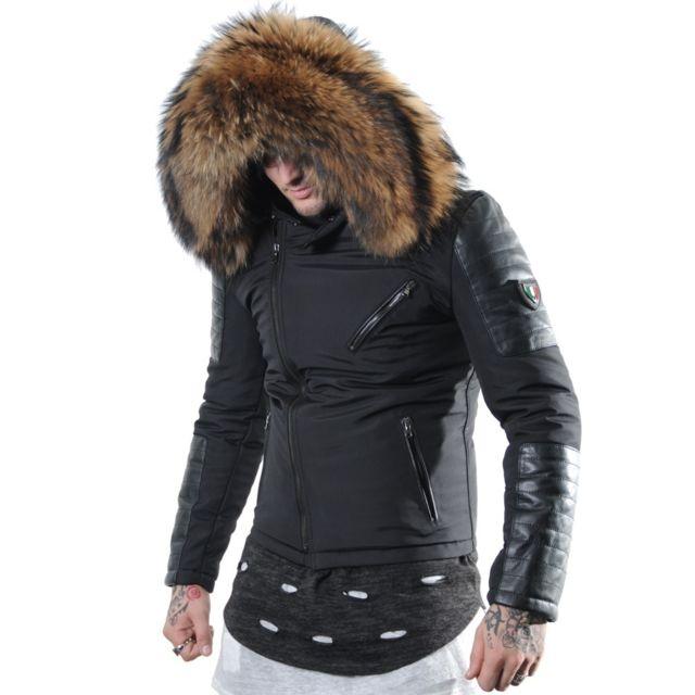 ... Veste Star-7 noir à Grosse fourrure 13cm véritable et cuir  d agneau-doudoune , fourrure, veste, doudoune, cuir, homme - pas cher Achat    Vente Blouson ... 6cca0d2c00e