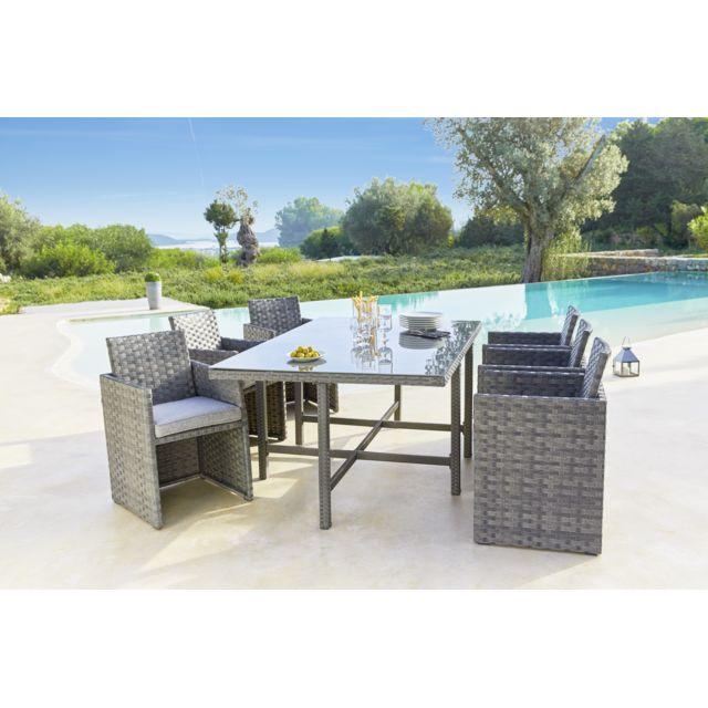 CARREFOUR - Set de jardin 7 pièces encastrables - Métal et Wicker - Gris 6 places