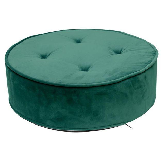 Coussin De Sol Velours Vert En Polyester Dim 50 X 50 X 16 Cm