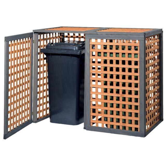 marque generique gaspo cache poubelle kaprun 2 poubelles avec couvercle pas cher achat. Black Bedroom Furniture Sets. Home Design Ideas
