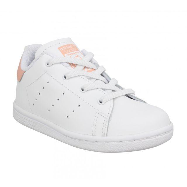 Adidas Stan Smith Cursive Logo cuir Enfant 24 Blanc Rose