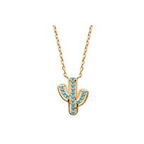 Collection Zanzybar - Collier avec pendentif Cactus en plaqué or et turquoise Mexico