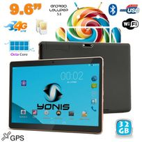 Yonis - Tablette 4G 9.6 pouces Android 5.1 Dual Sim Octa Core Gps 32Go Noir