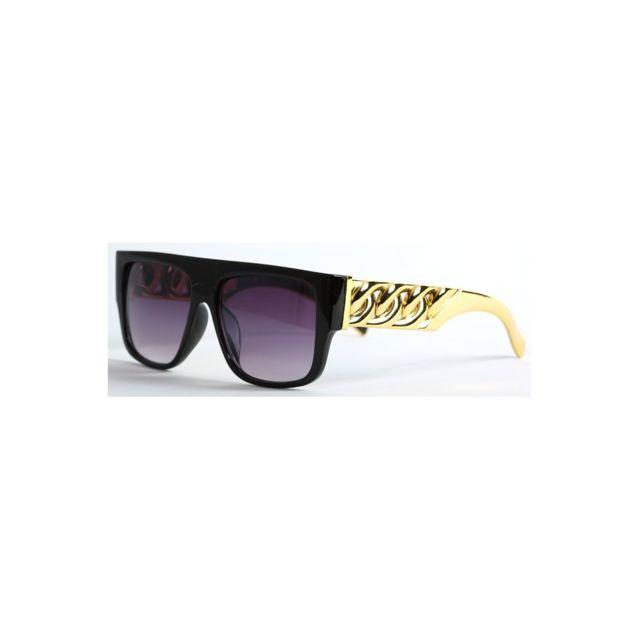 801f32e2331971 Magiccustom - Magic Custom - Lunettes de soleil avec barre plate et  branches dorées effet chaîne