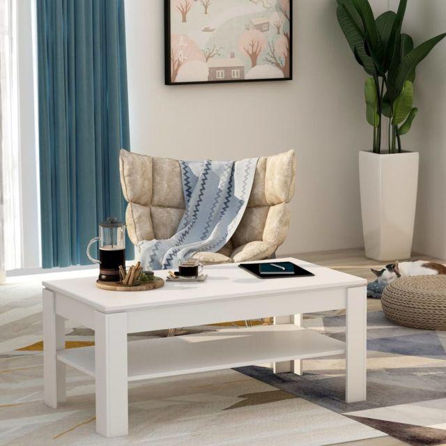 Vidaxl Table Basse Blanc Aggloméré Table d'Appoint Salon Canapé Intérieur