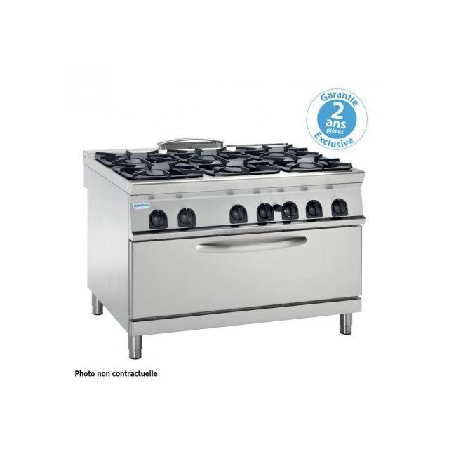 Materiel Chr Pro Fourneau avec four gaz statique extra-large - 6 feux grill 3 kW gamme 700 - modules 400 - Tecnoinox - 700