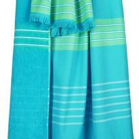 100POURCENTCOTON - Fouta Kea 100x180 cm couleur Lagon 100% coton vds