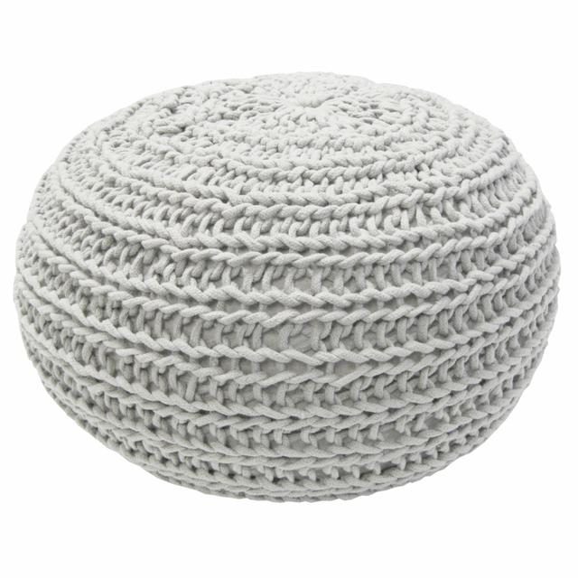 Overseas - Pouf tricoté 30 x 50 cm blanc cassé