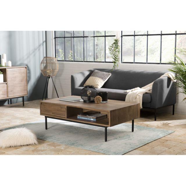 MACABANE Table basse 2 tiroirs 2 niches Acacia pieds métal