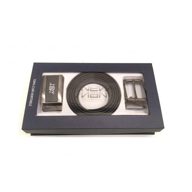 dc280b4fff91 New Man - Ceinture en cuir réversible - Noir Marron - pas cher Achat   Vente  Ceinture homme - RueDuCommerce