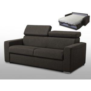 linea sofa canap 3 places convertible express en tissu vizir chocolat couchage 140 cm. Black Bedroom Furniture Sets. Home Design Ideas