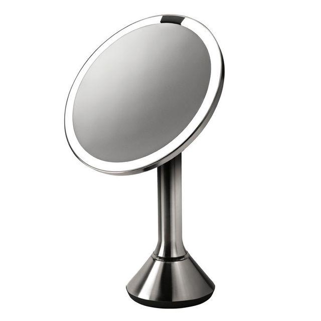 Simplehuman Miroir inclinable en inox brossé avec éclairage Led automatique D23xH39cm