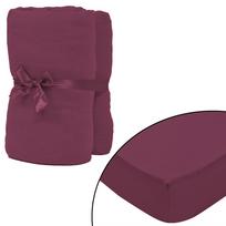 Rocambolesk - Superbe Drap-housse 2 pcs en coton 150 gsm 120x200-130x200 cm Bordeaux neuf