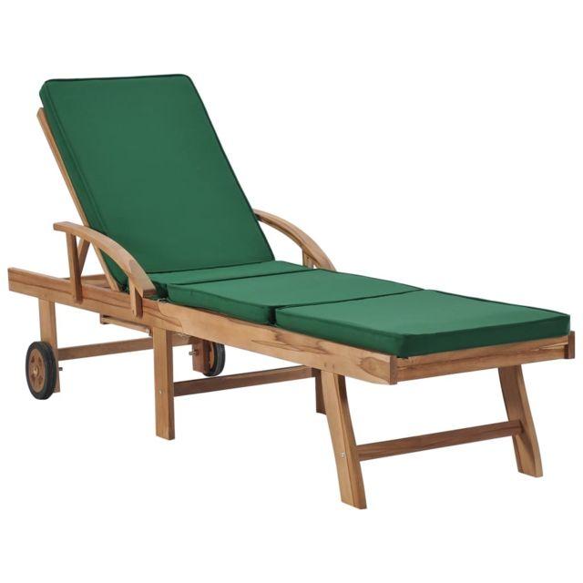 Uco Chaise longue avec coussin Bois de teck solide Vert